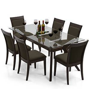 Wesley   Dalla 6 Seater Dining Table Set (Grey, Dark Walnut Finish) By