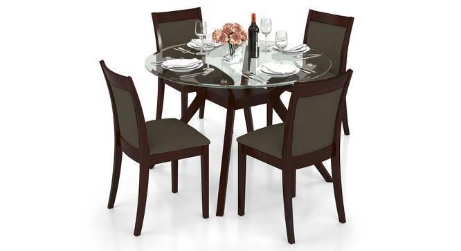 Wesley - Dalla 4 Seater Round Glass Top Dining Table Set (Grey, Dark Walnut Finish) by Urban Ladder