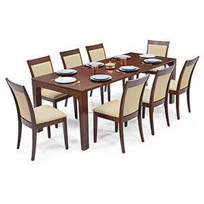 Arco - Dalla 8 Seater Dining Table Set (Beige, Dark Walnut Finish) by Urban Ladder