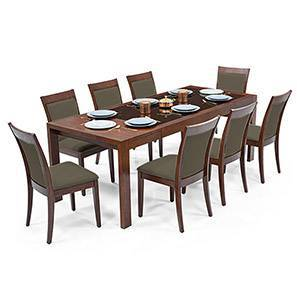 Vanalen 6-to-8 Extendable - Dalla 8 Seater Glass Top Dining Table Set (Grey, Dark Walnut Finish)