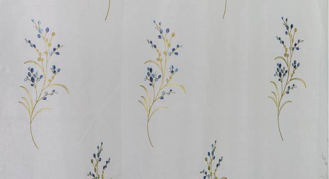 """Versailles Embroidered Sheer Curtain - Set Of 2 (Blue, 52""""x104"""" Curtain Size) by Urban Ladder"""