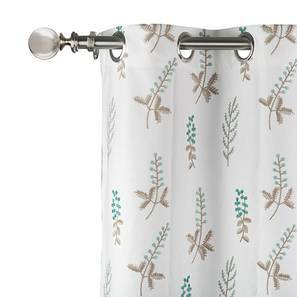 "Helmsley Embroidered Curtain - Set Of 2 (Aqua, 52""x104"" Curtain Size) by Urban Ladder"