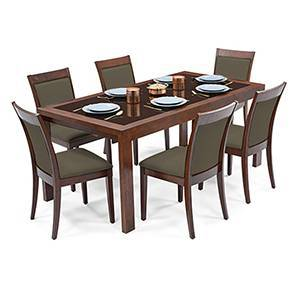 Vanalen 6-to-8 Extendable - Dalla 6 Seater Glass Top Dining Table Set (Grey, Dark Walnut Finish)