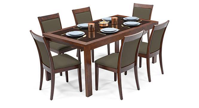 Vanalen 6-to-8 Extendable - Dalla 6 Seater Glass Top Dining Table Set (Grey, Dark Walnut Finish) by Urban Ladder