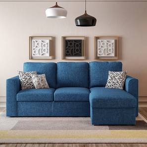 Kowloon Sectional Sofa Cum Bed with Storage (Blue) by Urban Ladder
