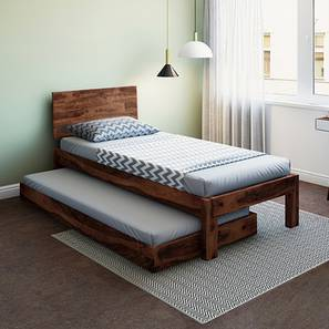 Boston Single Bed (Teak Finish, With Trundle) by Urban Ladder