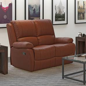 Tribbiani Two Seater Recliner Sofa (Tan Leatherette) by Urban Ladder