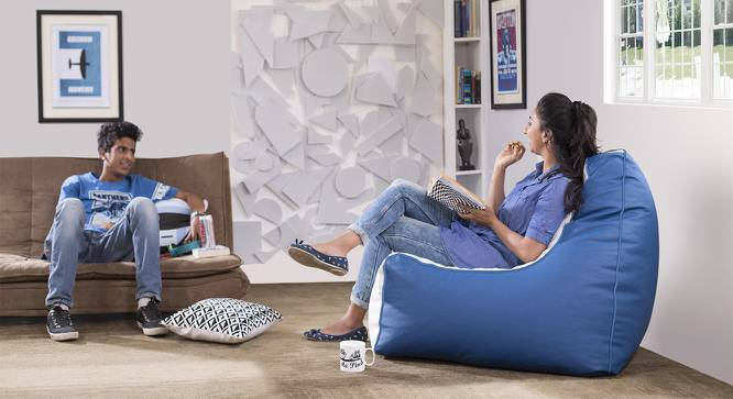 Hackey Leatherette Beanbag Chair (Blue & White, Large Size, With Beans Variant) by Urban Ladder
