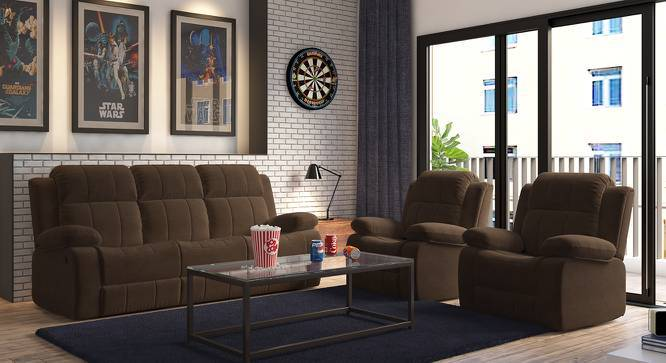 Robert Three Seater Recliner Sofa (Carafe Brown Fabric) by Urban Ladder