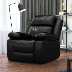 Robert Recliner (Black Leatherette) by Urban Ladder
