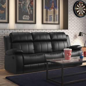 Robert Three Seater Recliner Sofa (Black Leatherette)