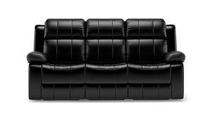 Robert Recliner Sofa Set (Black Leatherette)