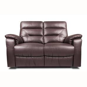 Calvin Motorized 2 Seater Half Leather Recliner (Chocolate Italian Leather)