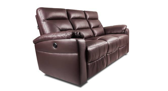 Calvin Motorized 3 Seater Leather Recliner (Chocolate Italian Leather) by Urban Ladder