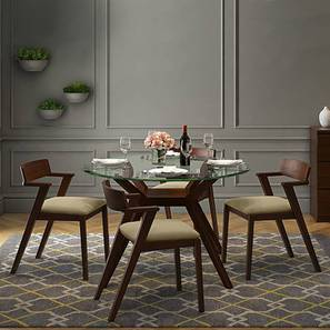Wesley - Thomson 4 Seater Round Glass Top Dining Table Set (Beige, Dark Walnut Finish)