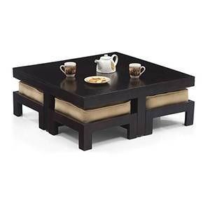 Kivaha 4-Seater Coffee Table Set (Ebony Finish, Beige) by Urban Ladder