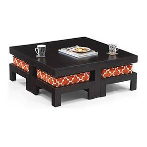 Kivaha 4-Seater Coffee Table Set (Ebony Finish, Morocco Lattice Rust) by Urban Ladder