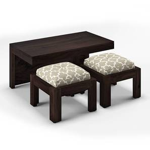 Kivaha 2-Seater Coffee Table Set (Ebony Finish, Morocco Lattice Beige) by Urban Ladder