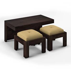 Kivaha 2-Seater Coffee Table Set (Ebony Finish, Beige) by Urban Ladder
