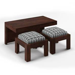 Kivaha 2-Seater Coffee Table Set (Walnut Finish, Black and White) by Urban Ladder