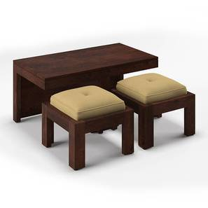 Kivaha 2-Seater Coffee Table Set (Walnut Finish, Beige) by Urban Ladder
