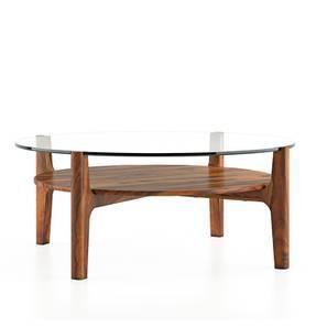 Cayman Coffee Table (Teak Finish, With Shelf) by Urban Ladder