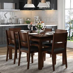 Diner - Cabalo (Leatherette) 6 Seater Dining Table Set (Black, Dark Walnut Finish) by Urban Ladder