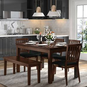 Diner 6 Seater Dining Table Set (With Bench) (Dark Walnut Finish)