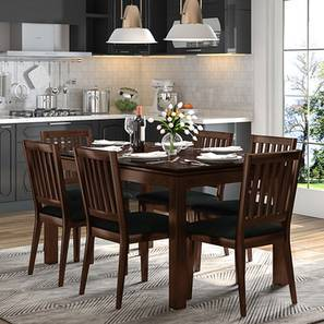 Diner 6 Seater Dining Table Dark Walnut Finish By Urban Ladder