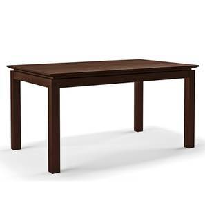 Diner 6 Seater Glass Top Dining Table (Dark Walnut Finish) by Urban Ladder