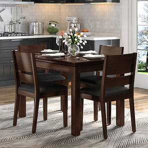 Diner - Cabalo (Leatherette) 4 Seater Dining Table Set (Black, Dark Walnut Finish) by Urban Ladder