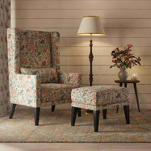 Morgen Wing Chair & Ottoman (Calico Print) by Urban Ladder