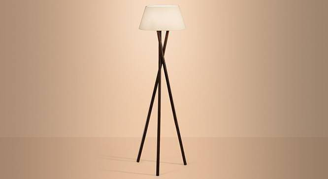 Lavu Floor Lamp (Natural Base Finish, White Shade Color, Conical Shade Shape) by Urban Ladder
