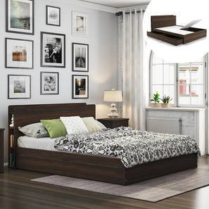Cavinti Storage Bed With Headboard Shelves (Queen Bed Size, Dark Walnut Finish, Drawer & Box Storage Type) by Urban Ladder