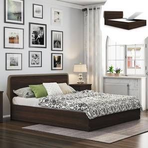 Cavinti Storage Bed (Queen Bed Size, Dark Walnut Finish, Box Storage Type) by Urban Ladder