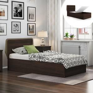 Cavinti Storage Single Bed (Single Bed Size, Dark Walnut Finish, Box Storage Type)