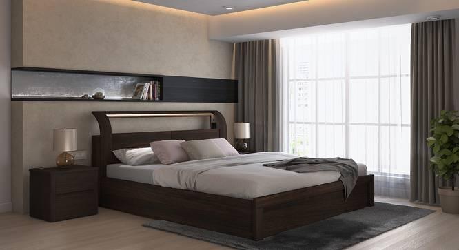 Sutherland Hydraulic Storage Smart Bed (King Bed Size, Dark Walnut Finish, Yes) by Urban Ladder