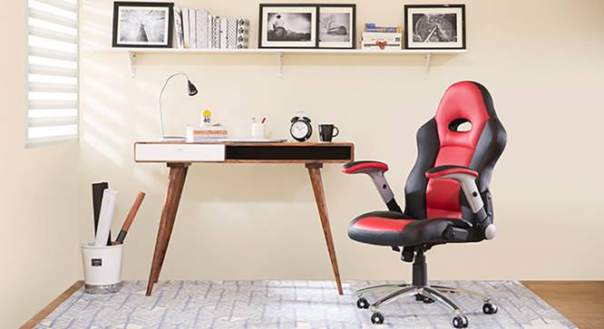 Mika Study Chair (Scarlet Red, Yes) by Urban Ladder