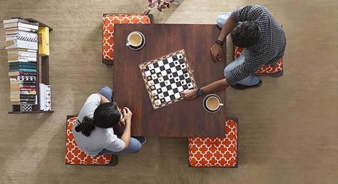 Kivaha 4-Seater Coffee Table Set (Walnut Finish, Morocco Lattice Rust, Yes) by Urban Ladder
