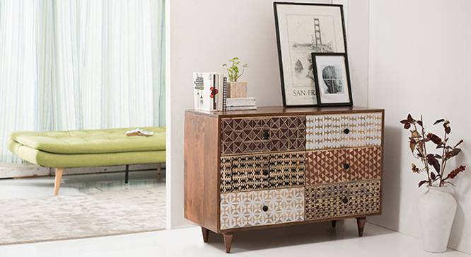 Emaada Chest of Drawers (Teak Finish, Yes) by Urban Ladder