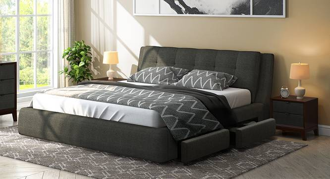 Stanhope Upholstered Storage Bed (Queen Bed Size, Charcoal Grey, Yes) by Urban Ladder