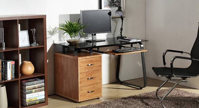 Eddings Study Table (Golden Oak Finish, With Keyboard Tray Configuration, Yes) by Urban Ladder