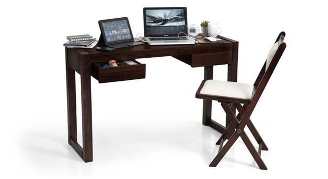 Austen Compact Desk (Mahogany Finish, Yes) by Urban Ladder