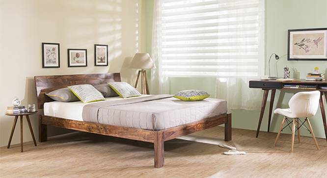 Boston Bed (Teak Finish, Queen Bed Size, Yes) by Urban Ladder