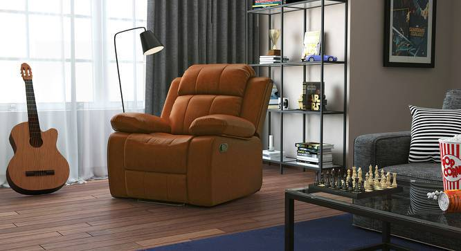 Robert Recliner (Tan Leatherette, Yes) by Urban Ladder