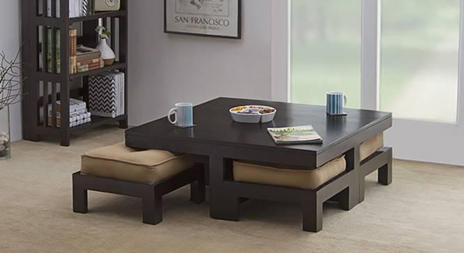 Kivaha 4-Seater Coffee Table Set (Ebony Finish, Beige, Yes) by Urban Ladder