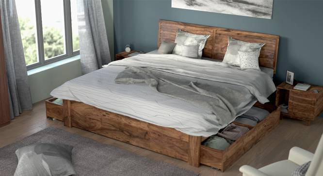 Terence Storage Bed (Teak Finish, Queen Bed Size, Yes) by Urban Ladder