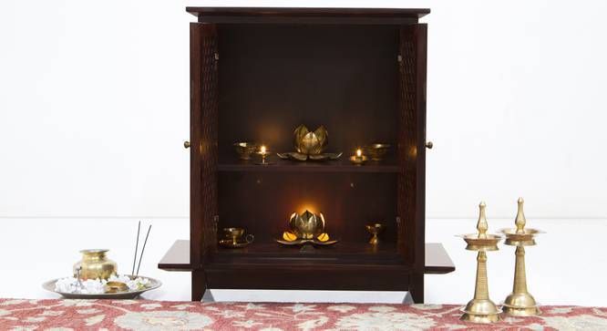 Devoto Prayer Cabinet (Mahogany Finish, Without Drawer Configuration, Yes) by Urban Ladder