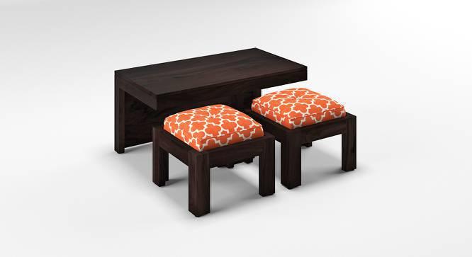 Kivaha 2-Seater Coffee Table Set (Ebony Finish, Morocco Lattice Rust, Yes) by Urban Ladder