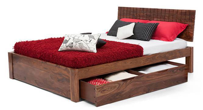 Valencia Storage Bed (Teak Finish, Queen Bed Size, Yes) by Urban Ladder